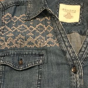 Sonoma Denim Shirt With Cross Stitched Yoke Detail